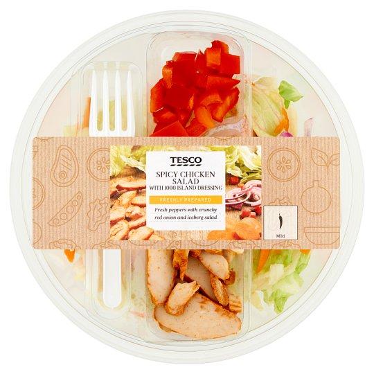 Tesco Mieszanka sałat z pikantnym kurczakiem i papryką czerwoną 230 g