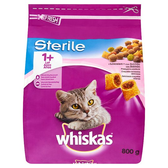 Whiskas Sterile Complete Cat Food Delicious Pasty with Salmon 1+ Year 800 g