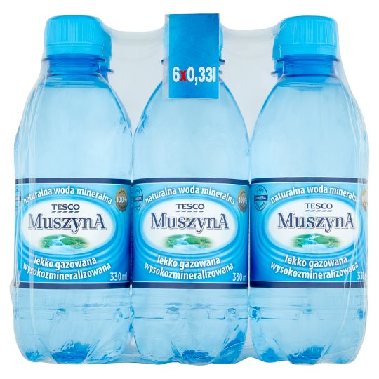 Tesco Muszyna Lightly Sparkling Rich Mineral Natural Water 6 x 330 ml
