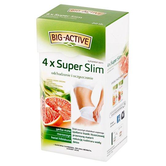 Big-Active 4 x Super Slim Herbatka ziołowo-owocowa Suplement diety (40 g (20 x 2 g)