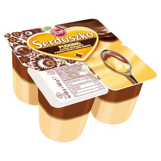 Zott Serduszko Pyszny Pudding o smaku waniliowym z sosem o smaku czekoladowym 500 g (4 sztuki)