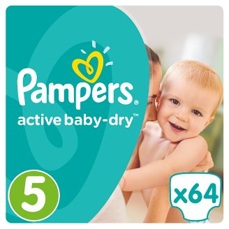 Pampers Active Baby-Dry Size 5 (Junior) 11-23 kg, 64 Nappies