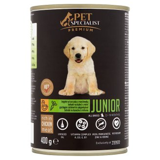 Tesco Pet Specialist Premium Rich in Chicken with Carrot Pet Food for Junior Dogs 400 g