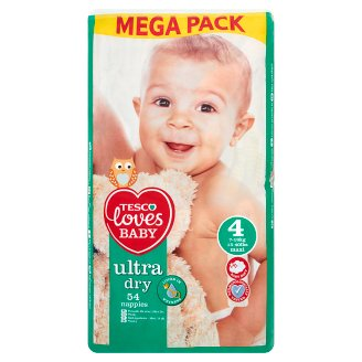 Tesco Loves Baby Ultra Dry 4 Maxi 7-18 kg Nappies 54 Pieces