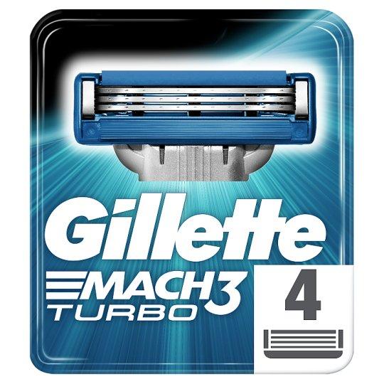 Gillette Mach3 Turbo Razor Blades For Men, 4 Refills