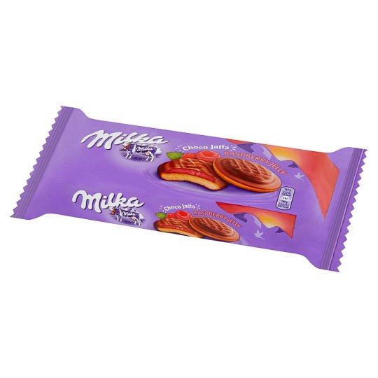 Milka Choco Jaffa Biszkopty z galaretką o smaku malinowym oblane czekoladą mleczną 147 g