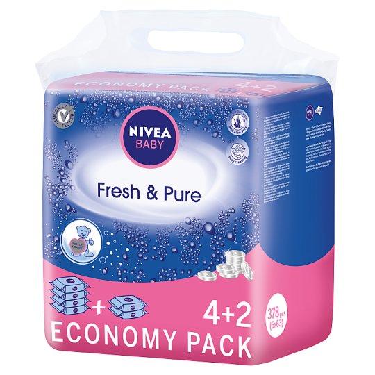 NIVEA Baby Fresh & Pure Wipes 378 Pieces (6 x 63 Pieces)