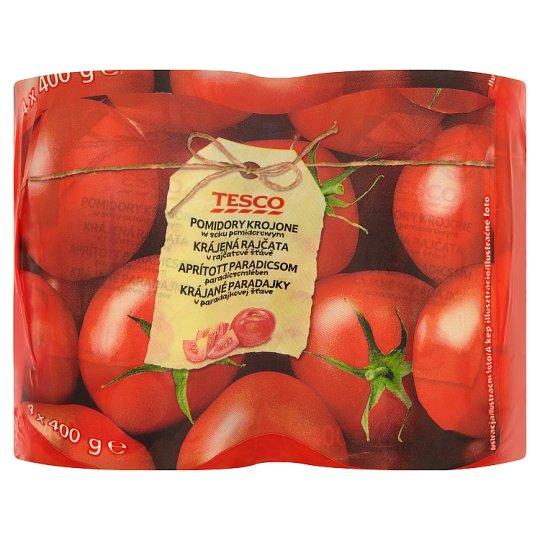 Tesco Pomidory krojone w soku pomidorowym 4 x 400 g
