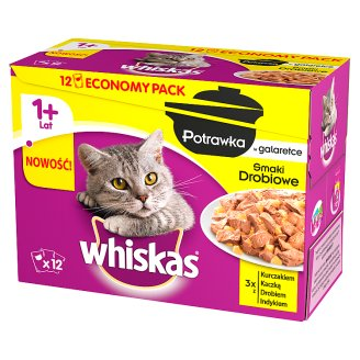 Whiskas Stew in Jelly Poultry Flavours Complete Cat Food 1+ Year 1020 g (12 Sachets)