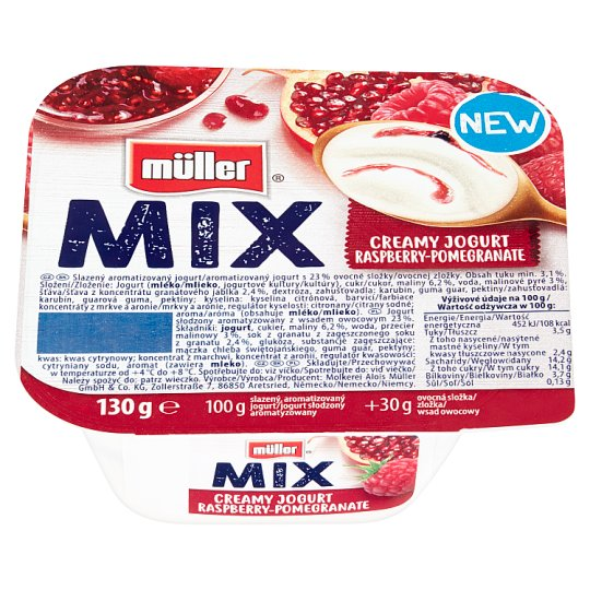 Müller Mix Raspberry-Pomegranate Creamy Yoghurt 130 g