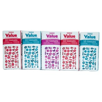 Tesco Value Tissues 2 Ply 10 x 10 Pieces