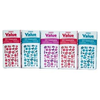 Tesco Value Chusteczki higieniczne 2-warstwowe 10 x 10 sztuk