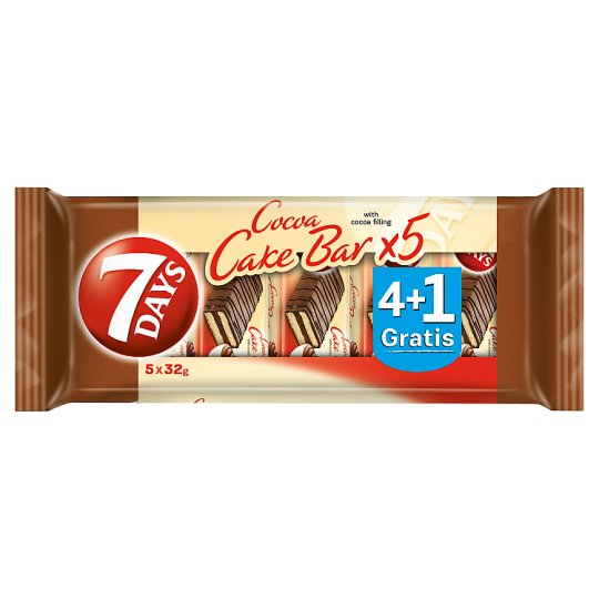 7 Days Cocoa Cake Bar with Cocoa Flavour Filling 5 x 32 g