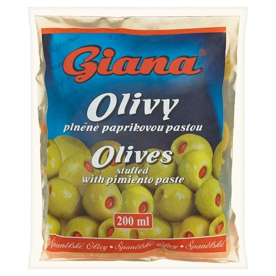 Giana Hiszpańskie oliwki zielone wypełnione pastą paprykową w słonej zalewie 195 g