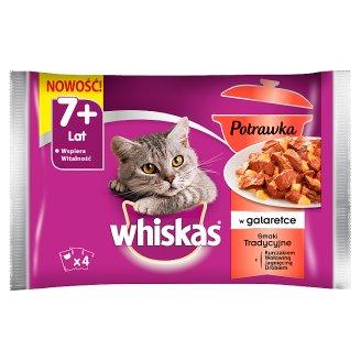 Whiskas Karma pełnoporcjowa 7+ lat potrawka w galaretce smaki tradycyjne 340 g (4 x 85 g)
