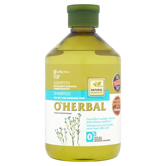 O'Herbal Shampoo for Dry and Damaged Hair with Flax Extract 500 ml