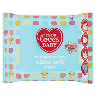 Tesco Loves Baby Ultra Soft Fragrance Free Wipes 24 Pieces