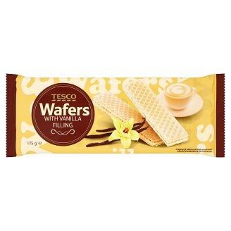 Tesco Wafle z nadzieniem o smaku waniliowym 175 g