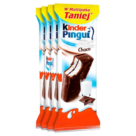 Kinder Pingui Choco Sponge Cake Filled with Milk Covered with Chocolate 120 g (4 x 30 g)