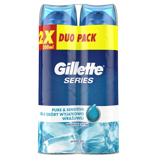 Gillette Series Pure & Sensitive Men's Shaving Gel 2x200ml