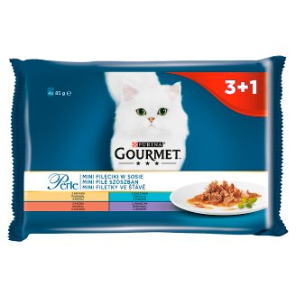 Gourmet Perle Mini Fillets in Gravy Complete Pet Food for Adult Cats 340 g (4 x 85 g)