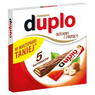 Duplo Hazelnut Wafer Covered with Milk Chocolate 91 g (5 Bars)