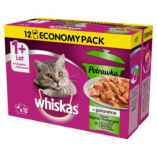 Whiskas 1+ Years Stew in Jelly Fish and Traditional Flavors Complete Cat Food 1020 g (12 x 85 g)
