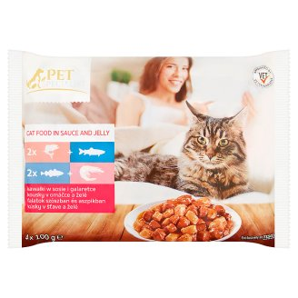 Tesco Pet Specialist Chunks in Sauce and Jelly Food for Adult Cats 4 x 100 g