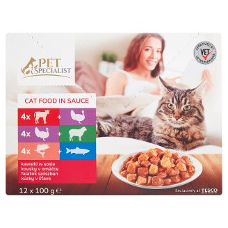 Tesco Pet Specialist Chunks in Sauce Food for Adult Cats 12 x 100 g