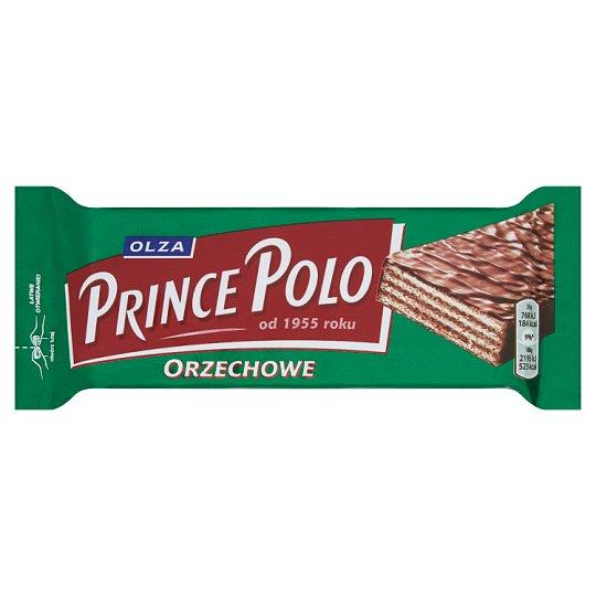 Olza Prince Polo Orzechowe Kruchy wafelek z kremem o smaku orzechowym oblany czekoladą 35 g
