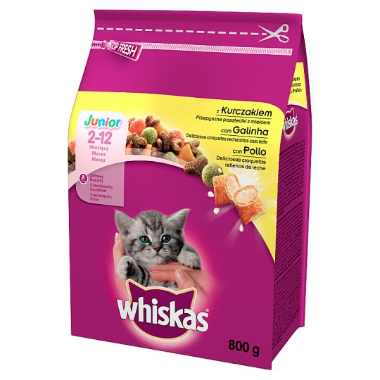 Whiskas Junior Complete Cat Food Delicious Pasty with Milk 2-12 Months 800 g