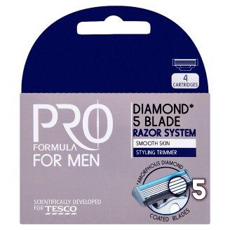 Tesco Pro Formula For Men Diamond Wymienne ostrza do maszynki do golenia z 5 ostrzami 4 sztuki