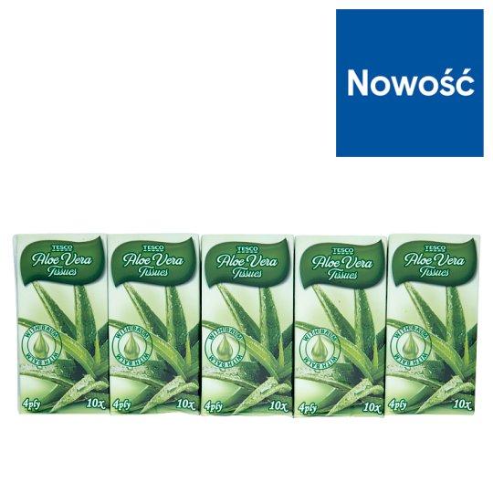Tesco Chusteczki higieniczne Aloe Vera 4-warstwowe 10 x 10 sztuk