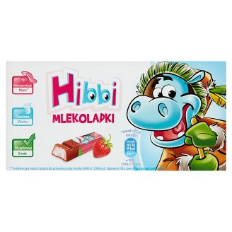Hibbi Mlekoladki Chocolate Bars with Yoghurt-Strawberry Flavoured Filling 100 g (8 Pieces)