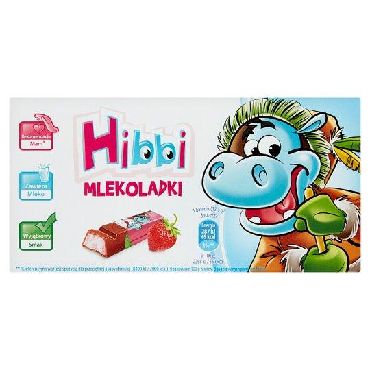 Hibbi Batoniki mleczne z nadzieniem o smaku jogurtowo-truskawkowym 100 g (8 sztuk)
