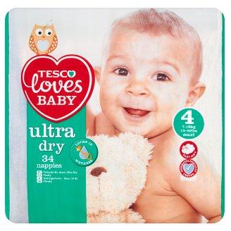 Tesco Loves Baby Ultra Dry Pieluszki jednorazowe 4 maxi 7-18 kg 34 sztuki