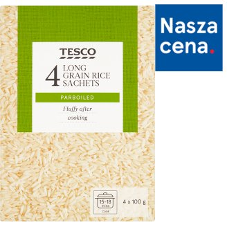 Tesco Ryż długoziarnisty preparowany termicznie 400 g (4 torebki)