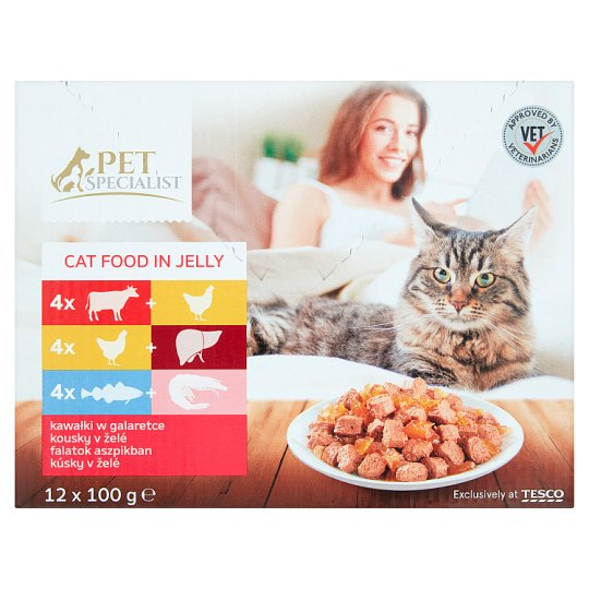Tesco Pet Specialist Chunks in Jelly Food for Adult Cats 12 x 100 g