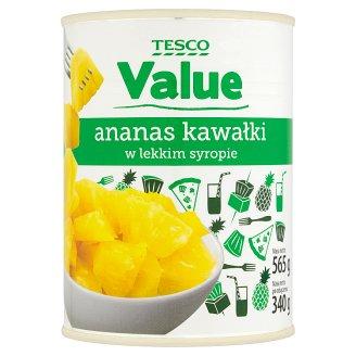Tesco Value Ananas kawałki w lekkim syropie 565 g