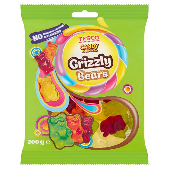 Tesco Candy Carnival Grizzly Bears Żelki o smaku owocowym 200 g