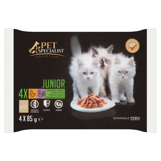 Tesco Pet Specialist Premium Food for Junior Cats with Chicken and Turkey in Gravy 4 x 85 g