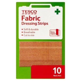 Tesco Fabric Dressing Strips 10 cm x 6 cm 10 Pieces