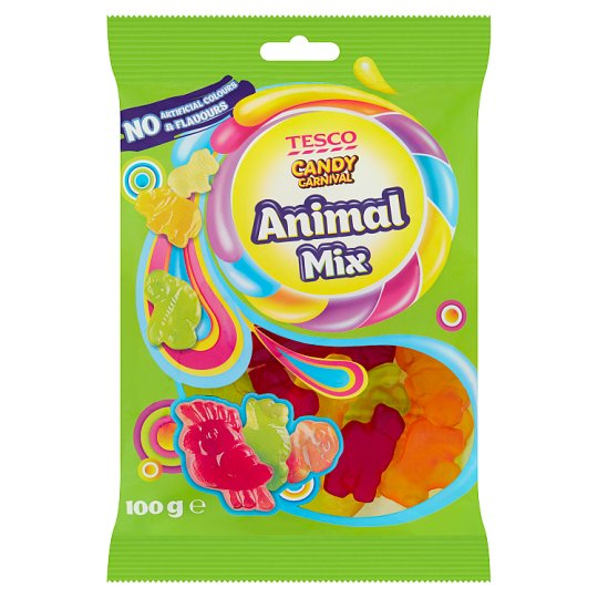 Tesco Candy Carnival Animal Mix Fruit Flavoured Jellies 100 g