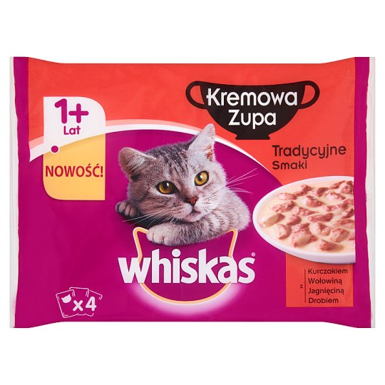 Whiskas Traditional Flavors Cream Soup Complete Cat Food 1+ Years 340 g (4 Sachets)