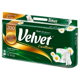 Velvet Excellence Camomile and Aloe Vera Toilet Paper 8 Rolls