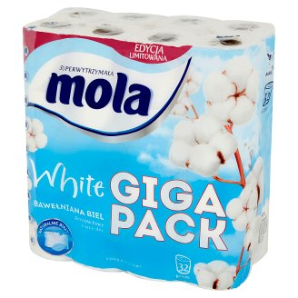Mola White Cotton White Toilet Paper 32 Rolls