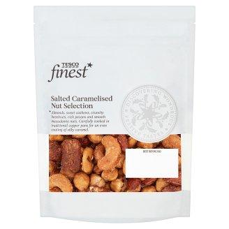 Tesco Finest Mieszanka lekko solonych orzechów i orzeszków w skorupce z karmelizowanego cukru 225 g