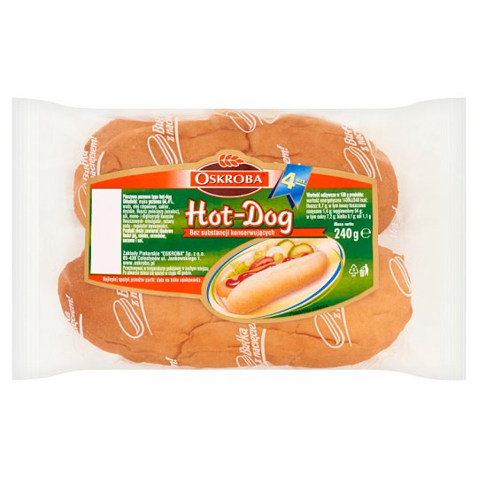 Oskroba Hot-Dog Wheat Bread 240 g (4 Pieces)