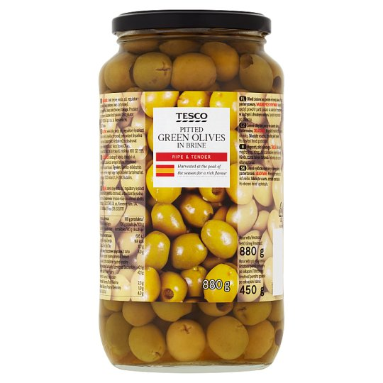 Tesco Pitted Green Olives in Brine 880 g