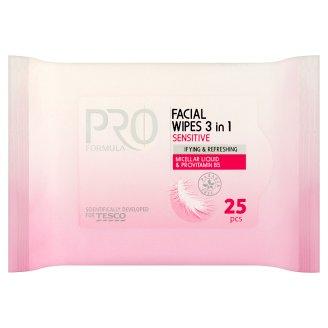Tesco Pro Formula Facial Wipes 3 in 1 Sensitive 25 Pieces